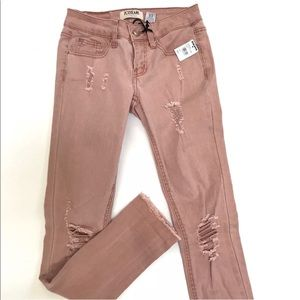 Tilly's ZCO Cropped Distressed Skinny Pink Jeans